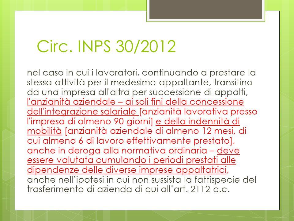 Circ. INPS 30/2012