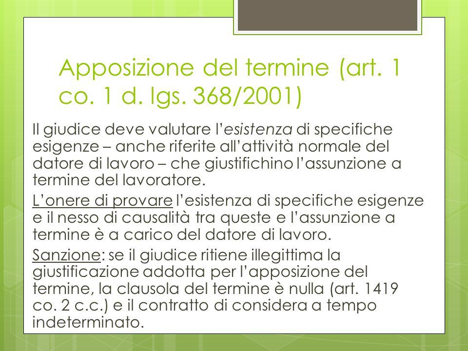 Apposizione del termine (art. 1 co. 1 d. lgs. 368/2001)