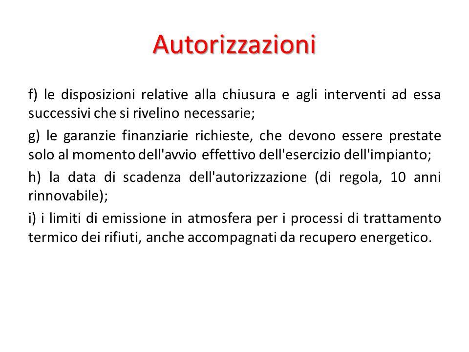 Autorizzazioni f) le disposizioni relative alla chiusura e agli interventi ad essa successivi che si rivelino necessarie;