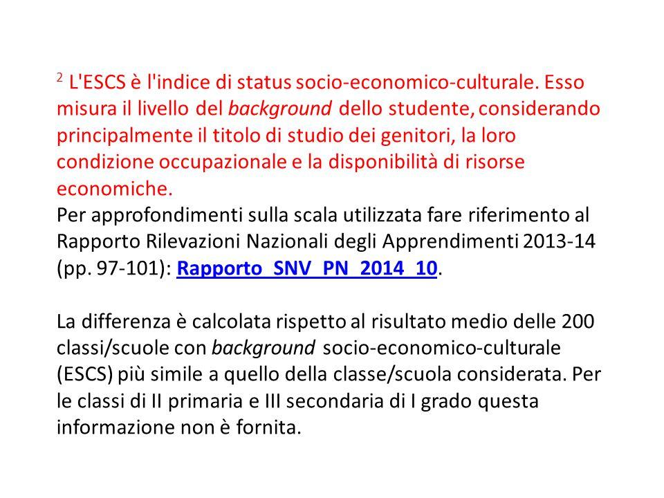 2 L ESCS è l indice di status socio-economico-culturale