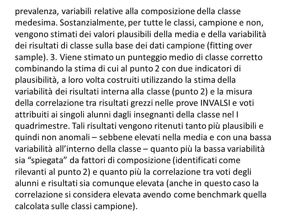 prevalenza, variabili relative alla composizione della classe medesima