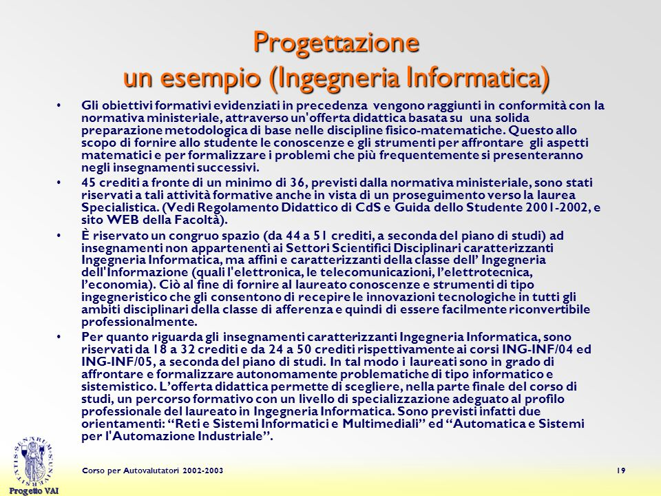 Progettazione un esempio (Ingegneria Informatica)