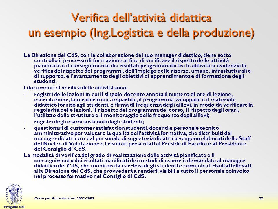 Verifica dell'attività didattica un esempio (Ing