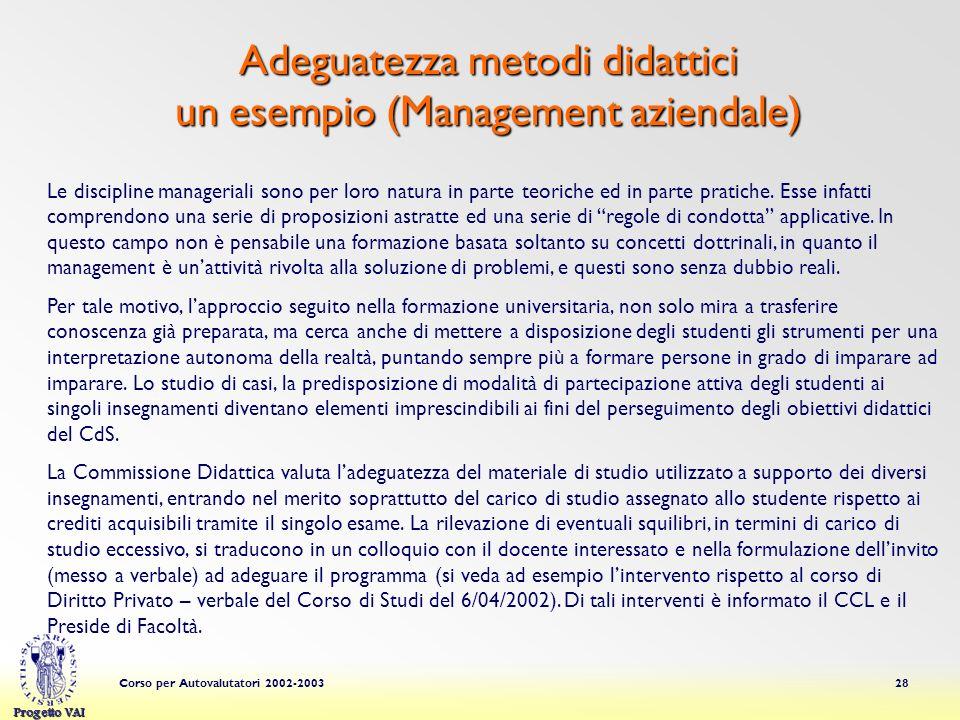 Adeguatezza metodi didattici un esempio (Management aziendale)