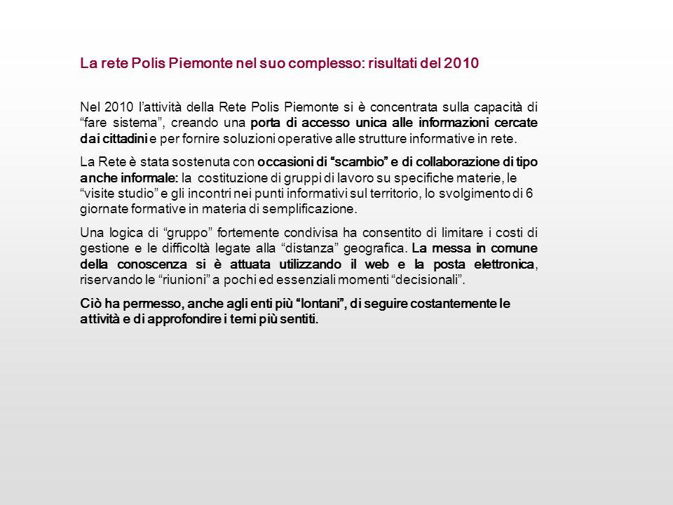 La rete Polis Piemonte nel suo complesso: risultati del 2010