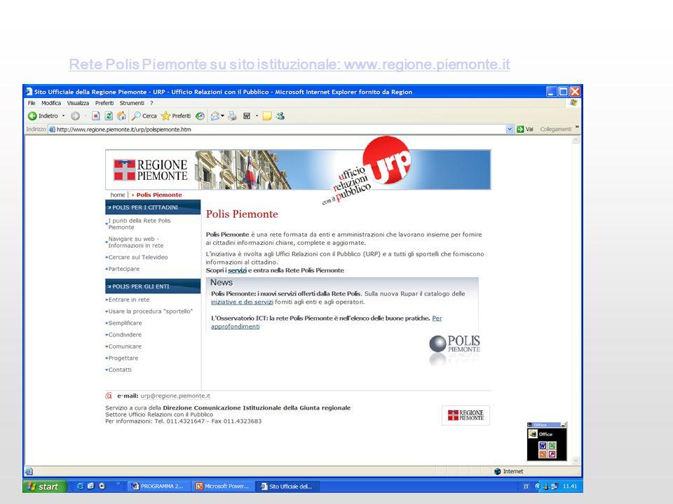 Rete Polis Piemonte su sito istituzionale: www.regione.piemonte.it