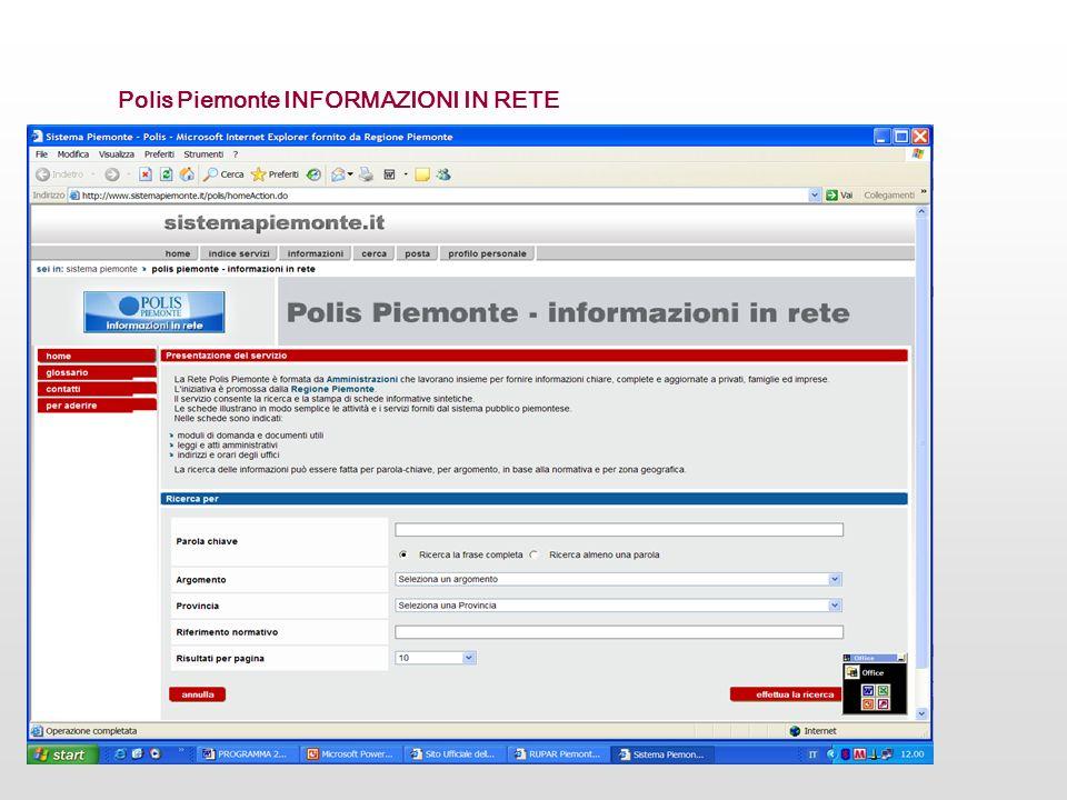 Polis Piemonte INFORMAZIONI IN RETE