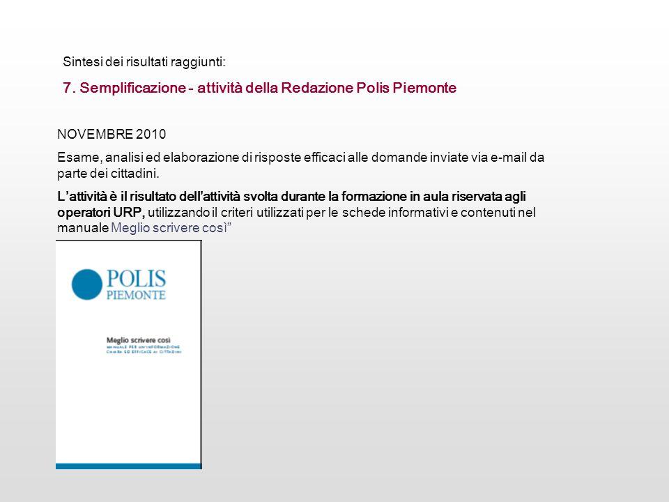 7. Semplificazione - attività della Redazione Polis Piemonte