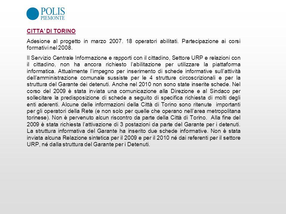 CITTA' DI TORINO Adesione al progetto in marzo 2007. 18 operatori abilitati. Partecipazione ai corsi formativi nel 2008.