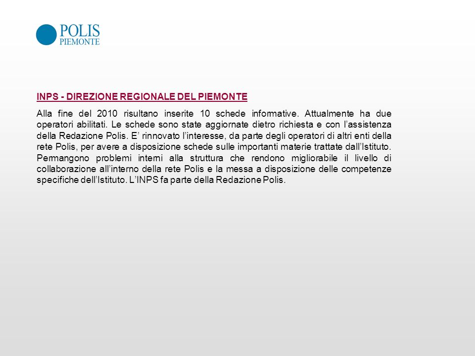 INPS - DIREZIONE REGIONALE DEL PIEMONTE