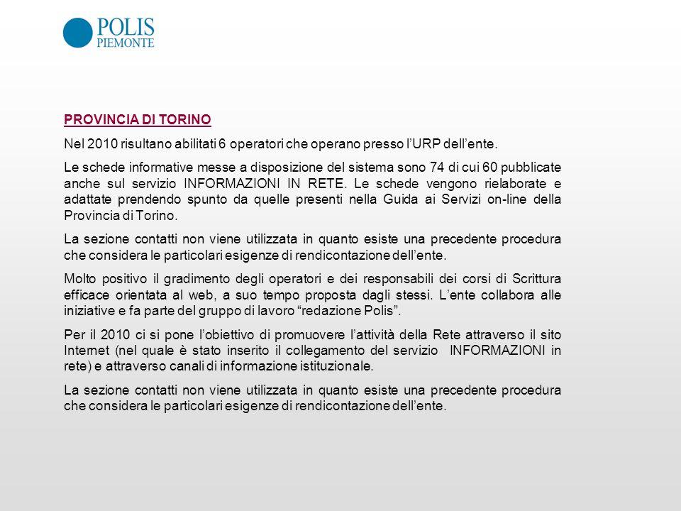 PROVINCIA DI TORINO Nel 2010 risultano abilitati 6 operatori che operano presso l'URP dell'ente.