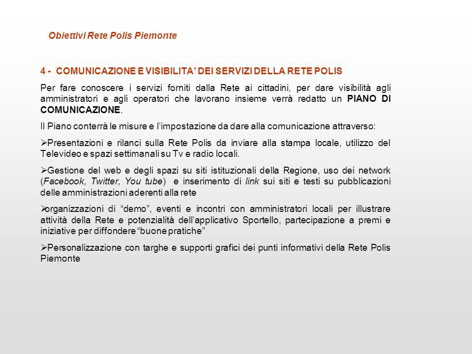 Obiettivi Rete Polis Piemonte