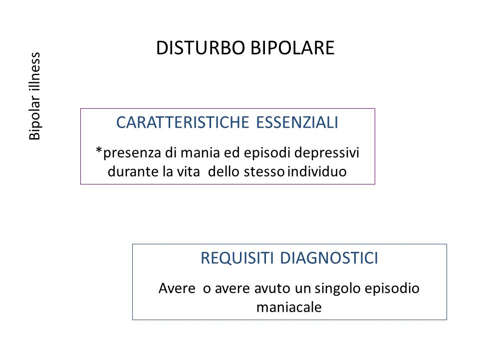 DISTURBO BIPOLARE CARATTERISTICHE ESSENZIALI REQUISITI DIAGNOSTICI