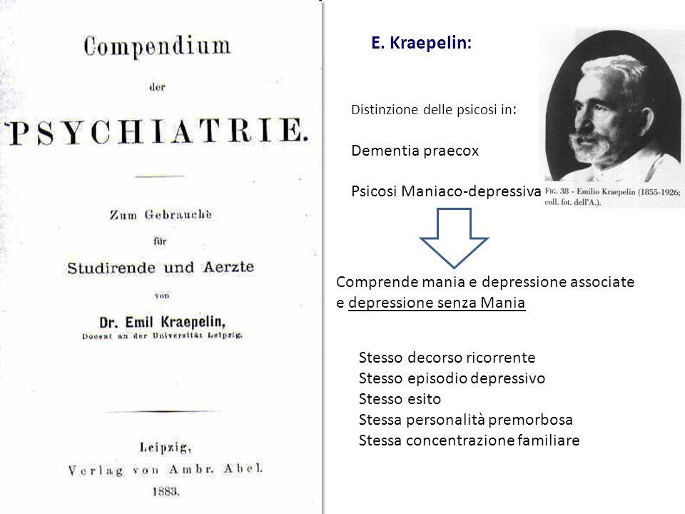 E. Kraepelin: Dementia praecox Psicosi Maniaco-depressiva