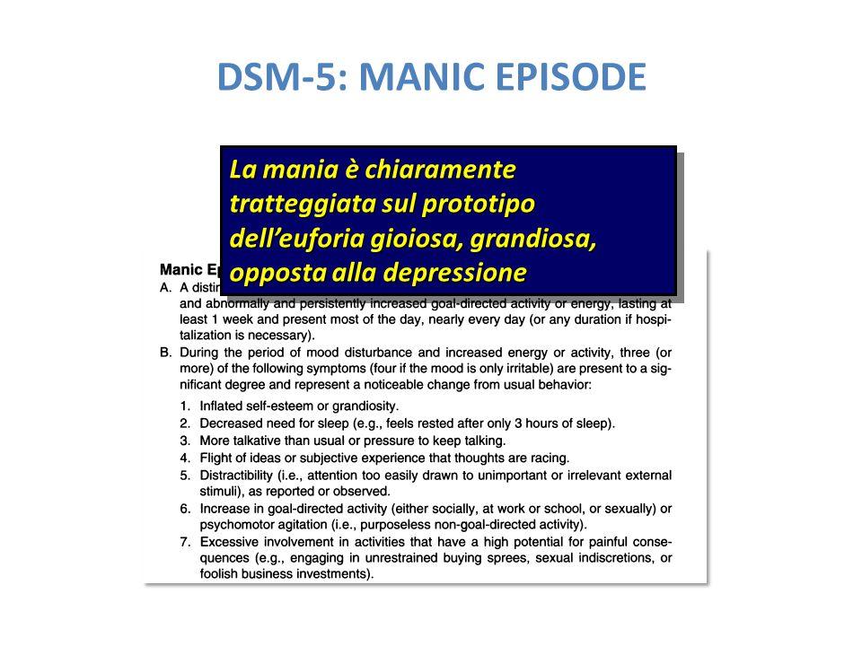 DSM-5: MANIC EPISODE La mania è chiaramente tratteggiata sul prototipo dell'euforia gioiosa, grandiosa, opposta alla depressione.