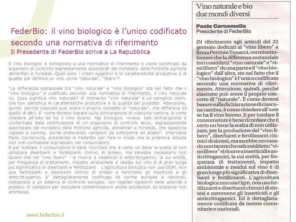 FederBio: il vino biologico è l'unico codificato