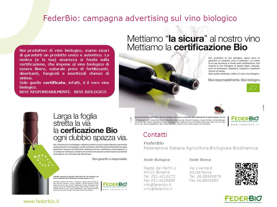 FederBio: campagna advertising sul vino biologico
