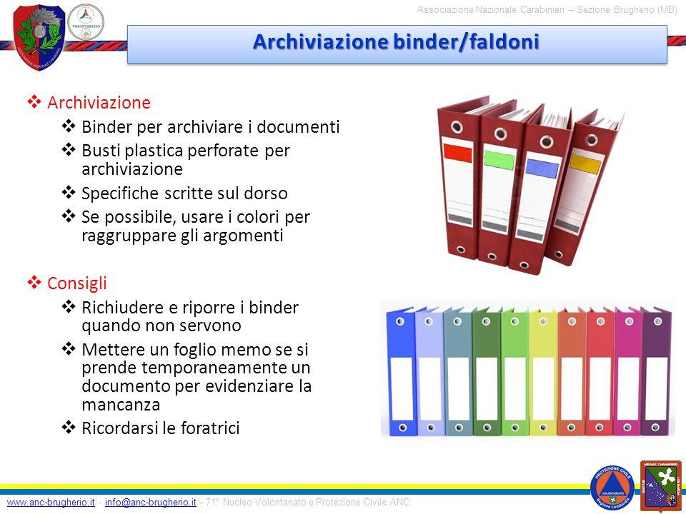 Archiviazione binder/faldoni