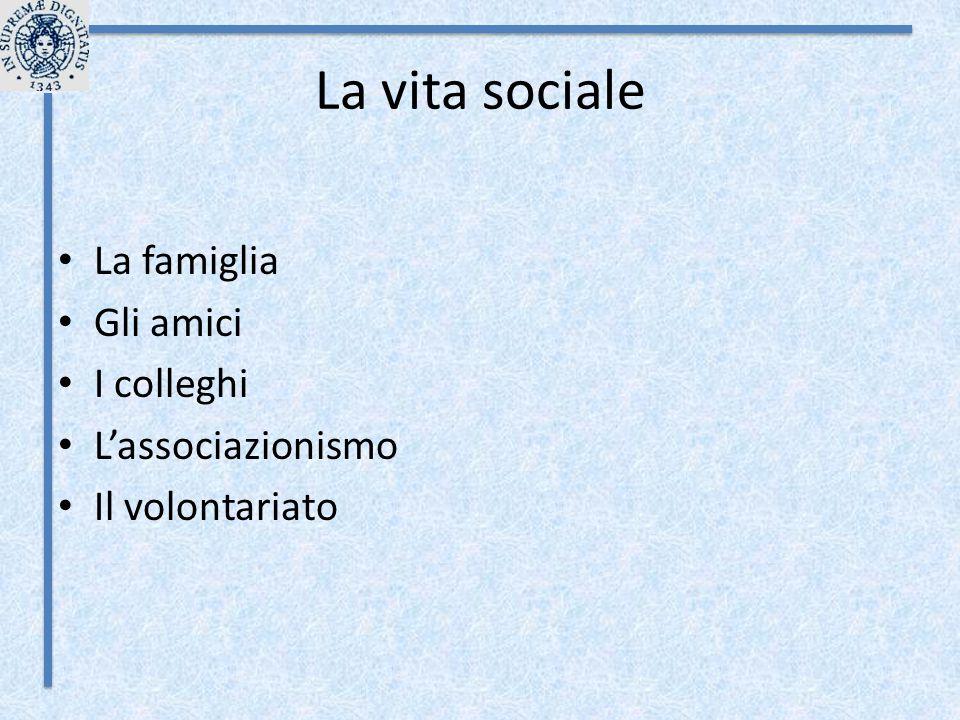 La vita sociale La famiglia Gli amici I colleghi L'associazionismo