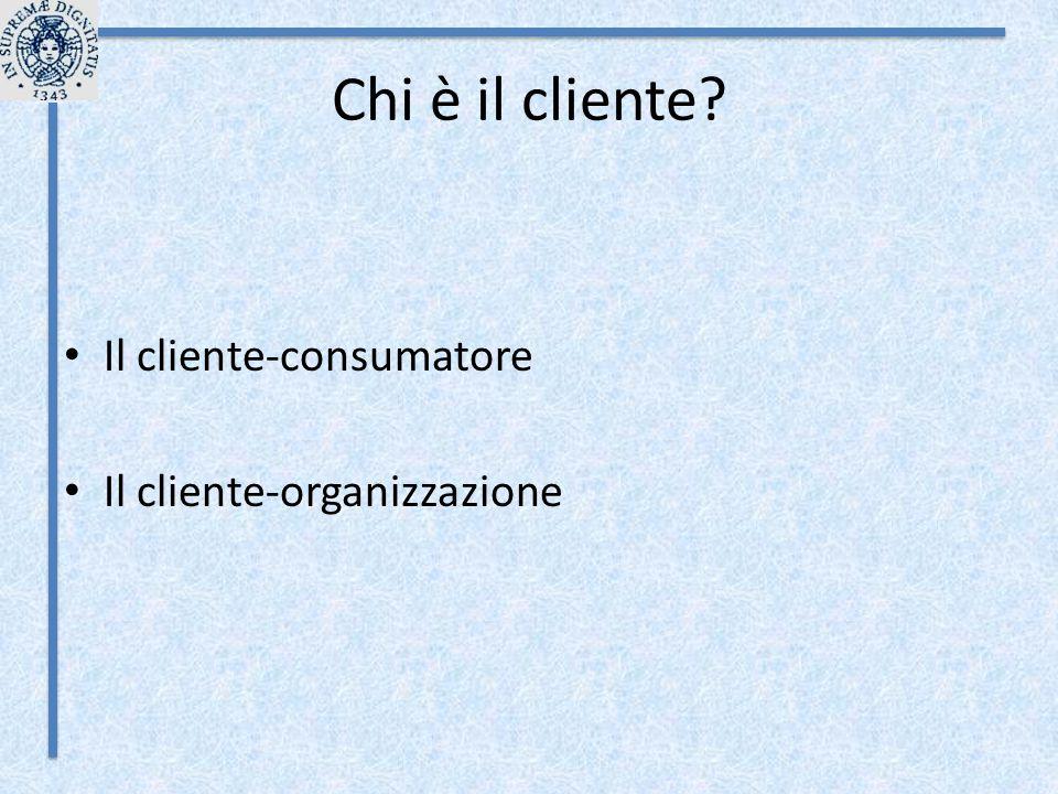 Chi è il cliente Il cliente-consumatore Il cliente-organizzazione