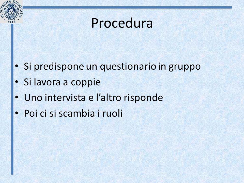 Procedura Si predispone un questionario in gruppo Si lavora a coppie