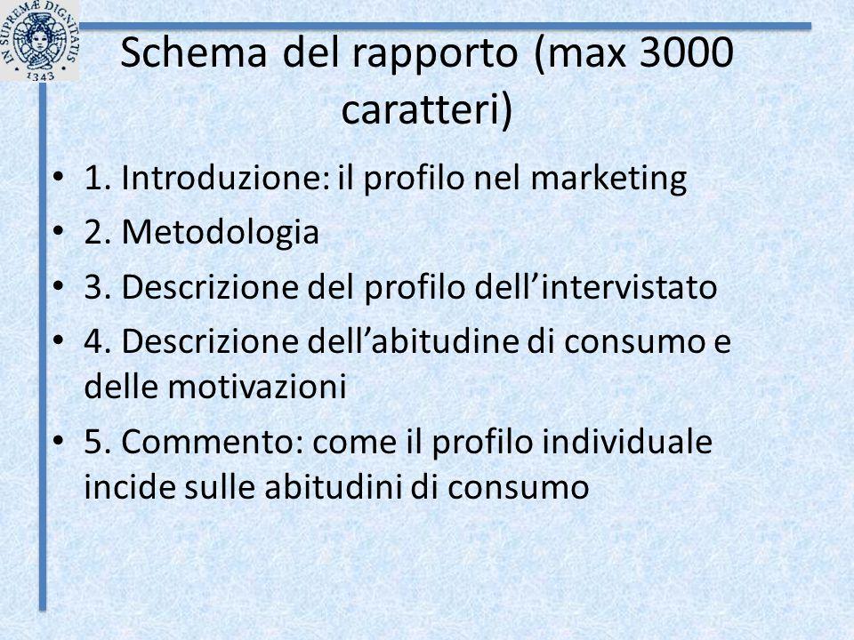 Schema del rapporto (max 3000 caratteri)