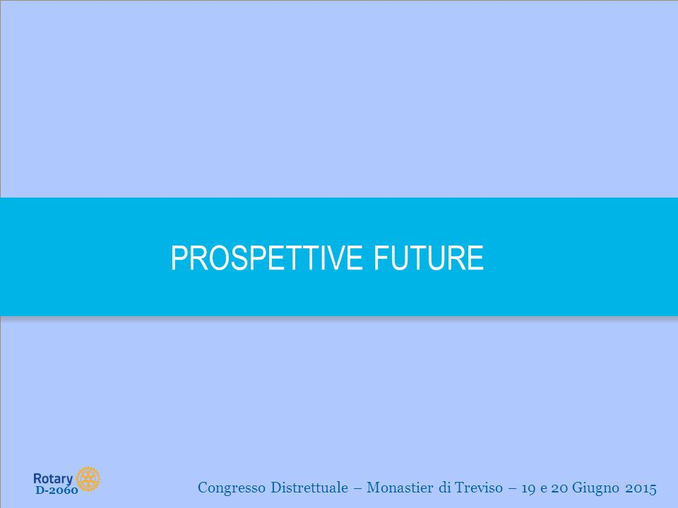 PROSPETTIVE FUTURE Congresso Distrettuale – Monastier di Treviso – 19 e 20 Giugno 2015 D-2060