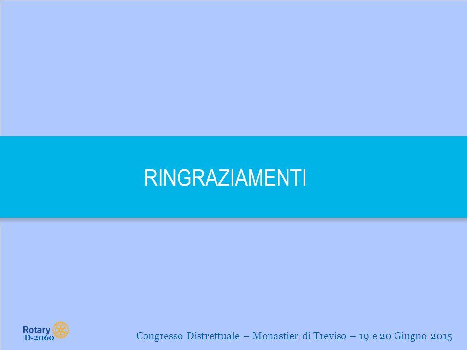 RINGRAZIAMENTI Congresso Distrettuale – Monastier di Treviso – 19 e 20 Giugno 2015 D-2060