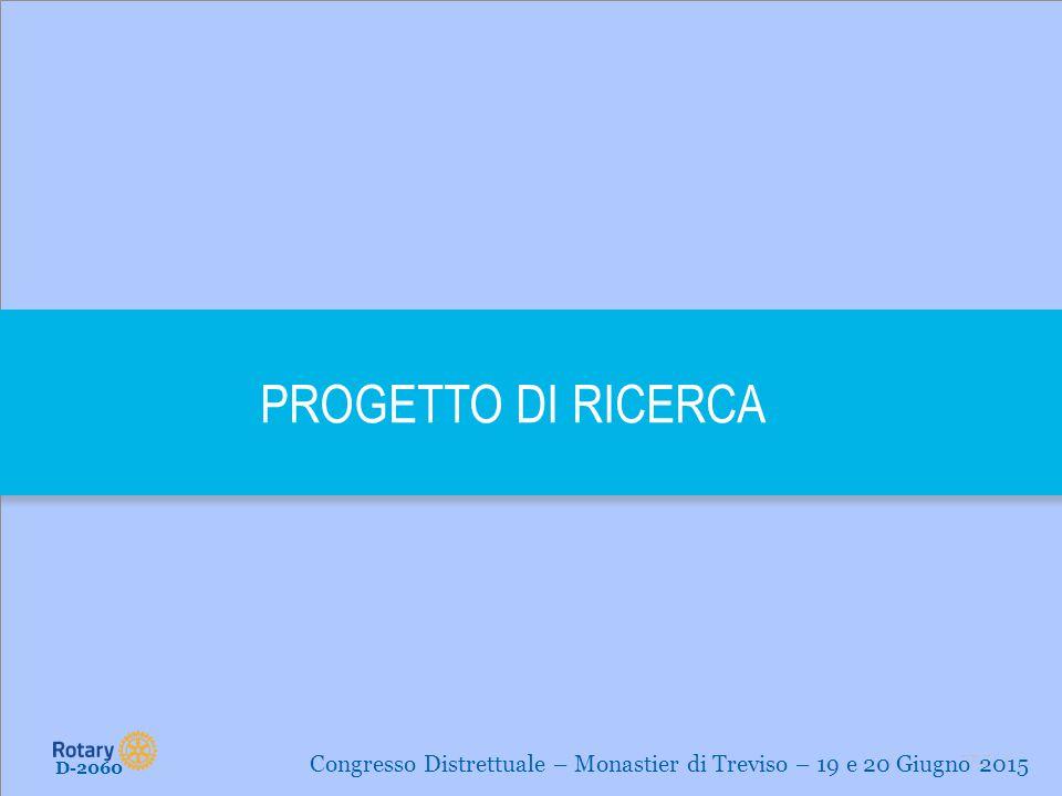 PROGETTO DI RICERCA Congresso Distrettuale – Monastier di Treviso – 19 e 20 Giugno 2015 D-2060