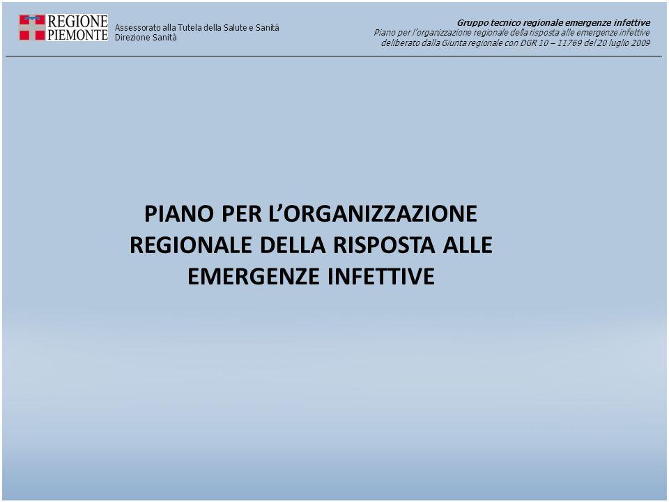 PIANO PER L'ORGANIZZAZIONE REGIONALE DELLA RISPOSTA ALLE EMERGENZE INFETTIVE