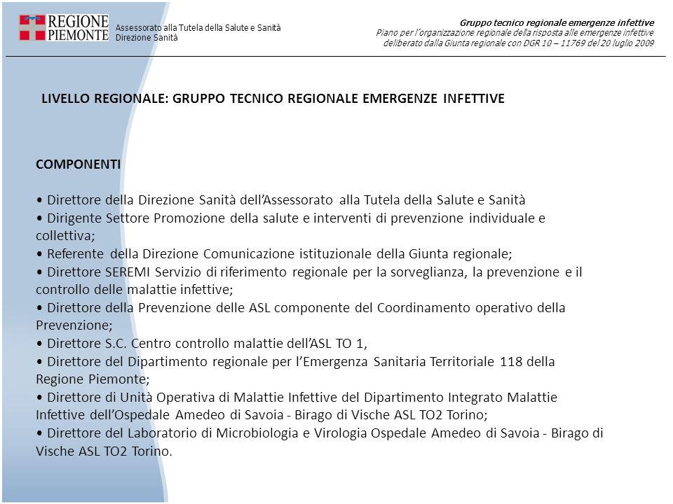 LIVELLO REGIONALE: GRUPPO TECNICO REGIONALE EMERGENZE INFETTIVE