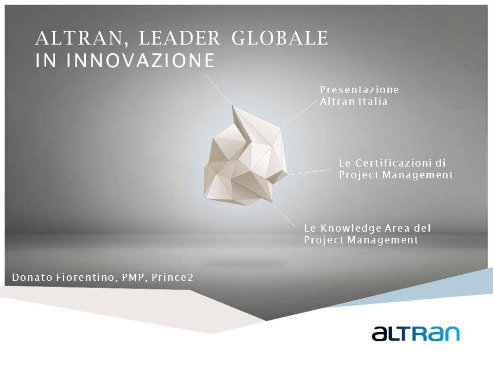 ALTRAN, LEADER GLOBALE IN INNOVAZIONE Presentazione Altran Italia