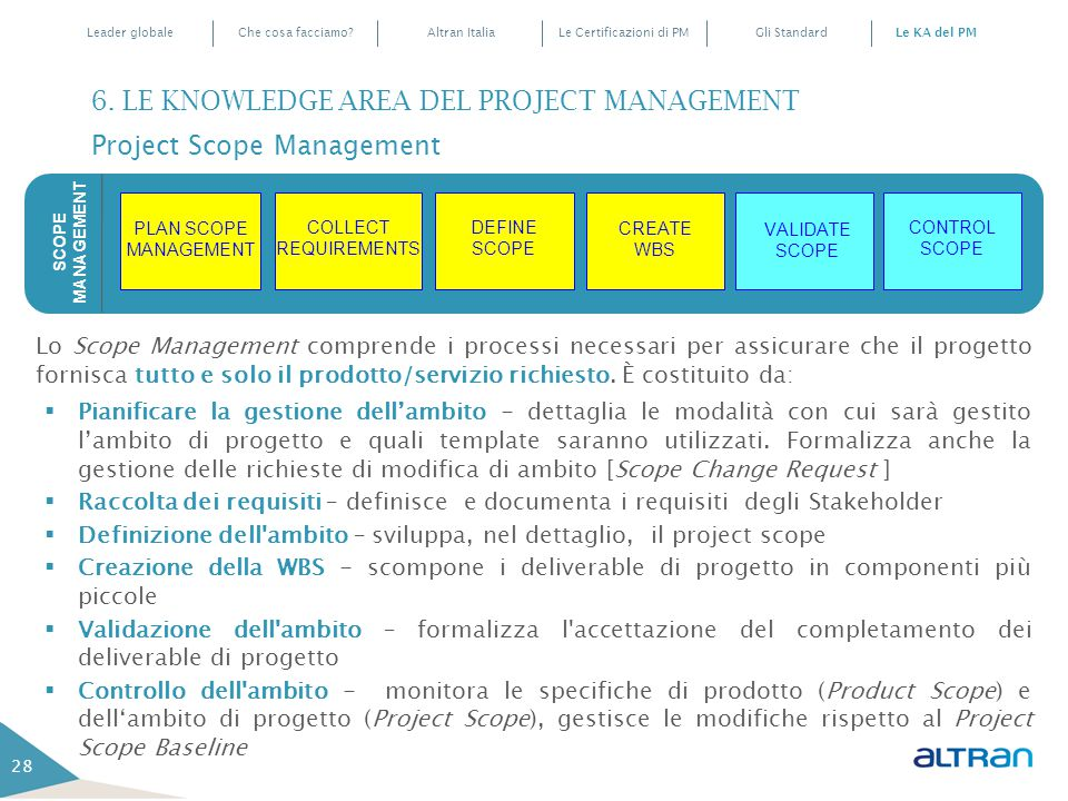 6. LE KNOWLEDGE AREA DEL PROJECT MANAGEMENT Project Scope Management