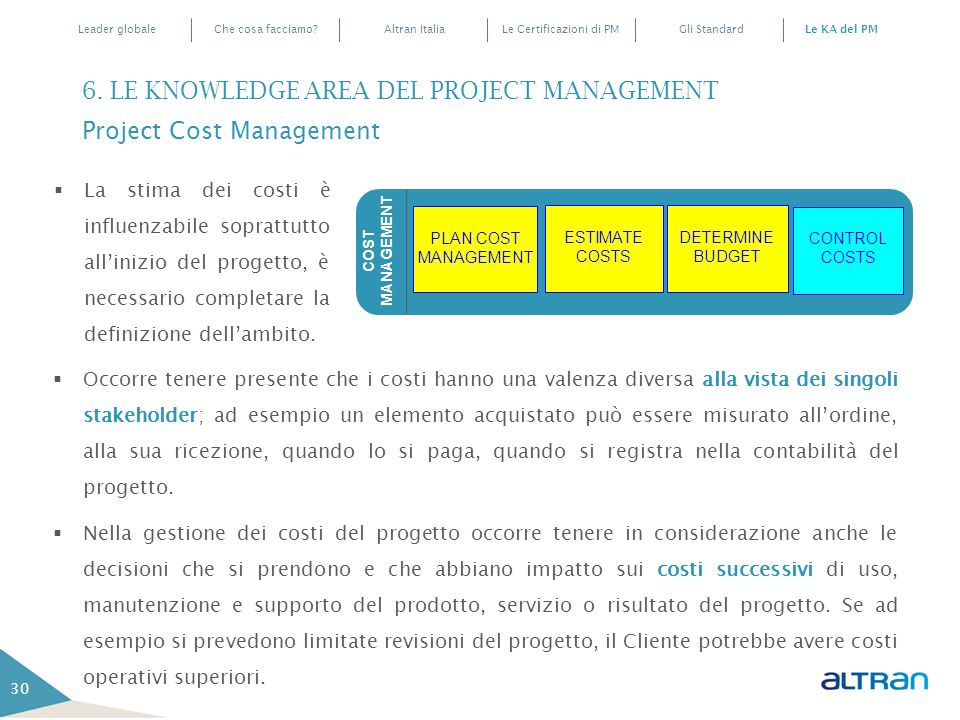 6. LE KNOWLEDGE AREA DEL PROJECT MANAGEMENT Project Cost Management
