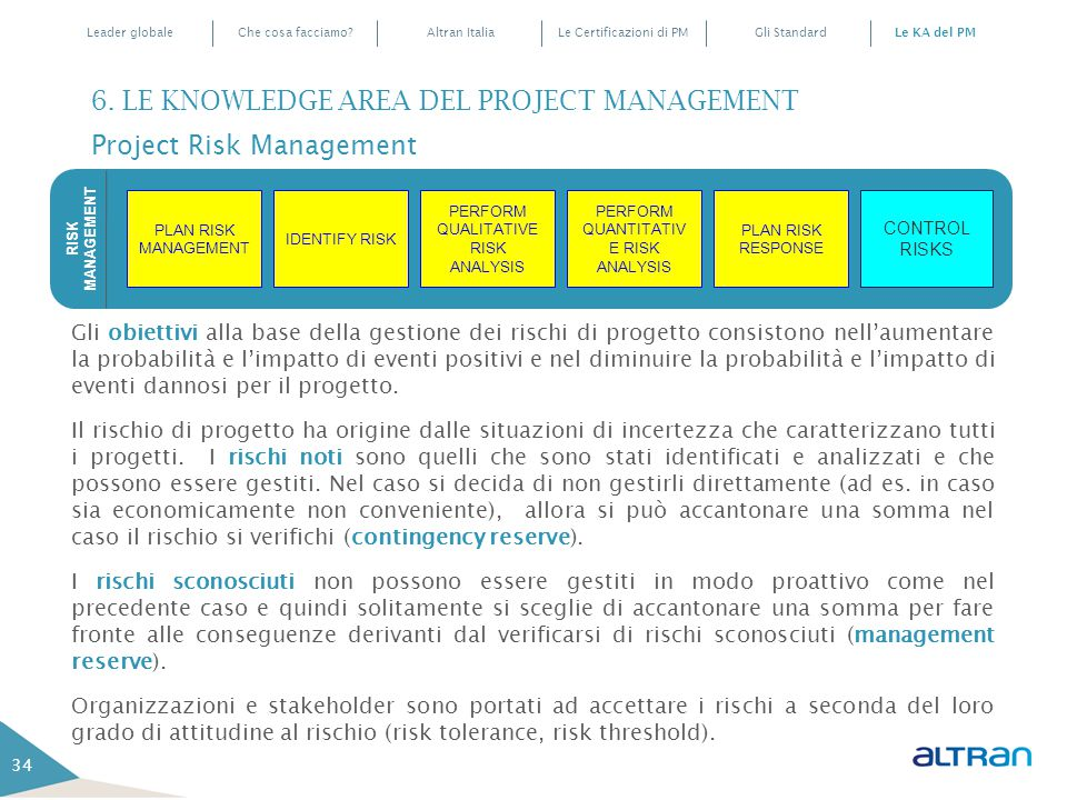 6. LE KNOWLEDGE AREA DEL PROJECT MANAGEMENT Project Risk Management