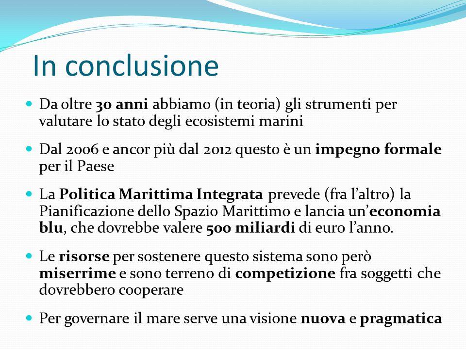 In conclusione Da oltre 30 anni abbiamo (in teoria) gli strumenti per valutare lo stato degli ecosistemi marini.
