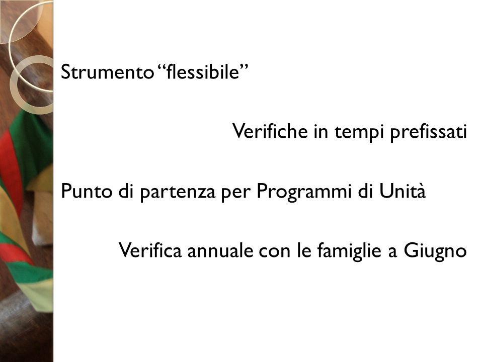 Strumento flessibile Verifiche in tempi prefissati Punto di partenza per Programmi di Unità Verifica annuale con le famiglie a Giugno