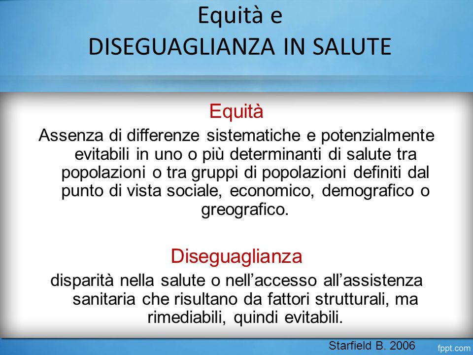 Equità e DISEGUAGLIANZA IN SALUTE