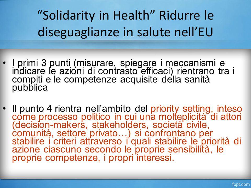 Solidarity in Health Ridurre le diseguaglianze in salute nell'EU