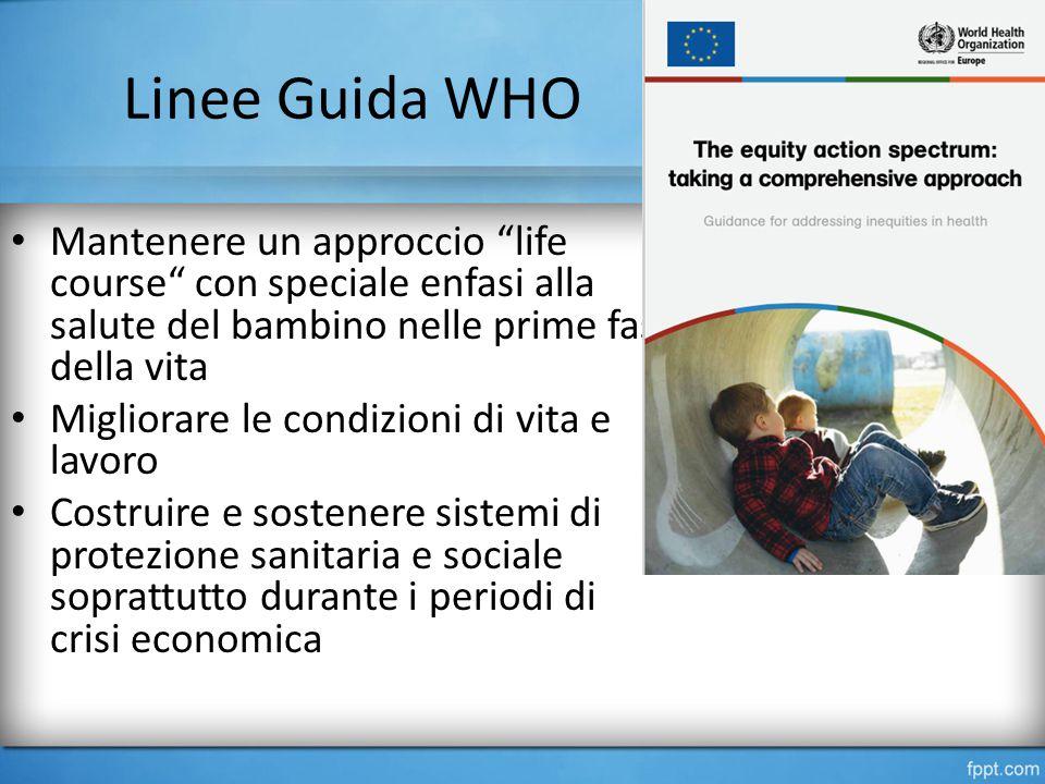Linee Guida WHO Mantenere un approccio life course con speciale enfasi alla salute del bambino nelle prime fasi della vita.
