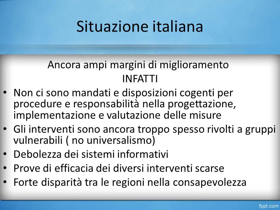 Situazione italiana Ancora ampi margini di miglioramento INFATTI