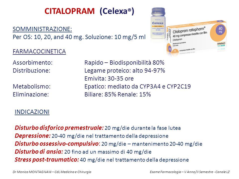 CITALOPRAM (Celexa®) Somministrazione: