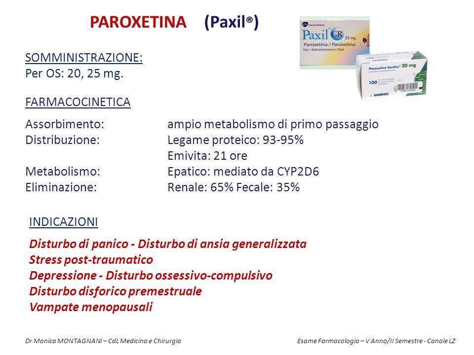 PAROXETINA (Paxil®) Somministrazione: Per OS: 20, 25 mg.