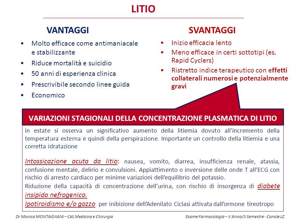Variazioni stagionali della concentrazione plasmatica di litio