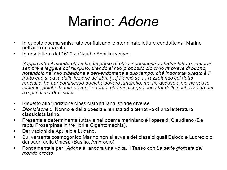 Marino: Adone In questo poema smisurato confluivano le sterminate letture condotte dal Marino nell arco di una vita.