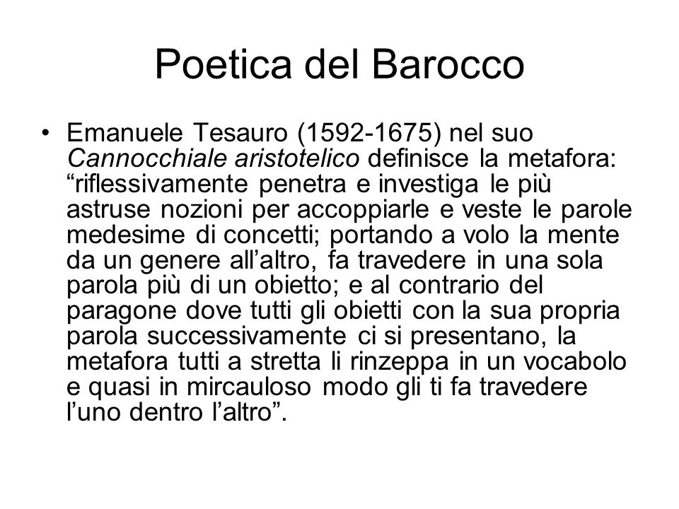Poetica del Barocco