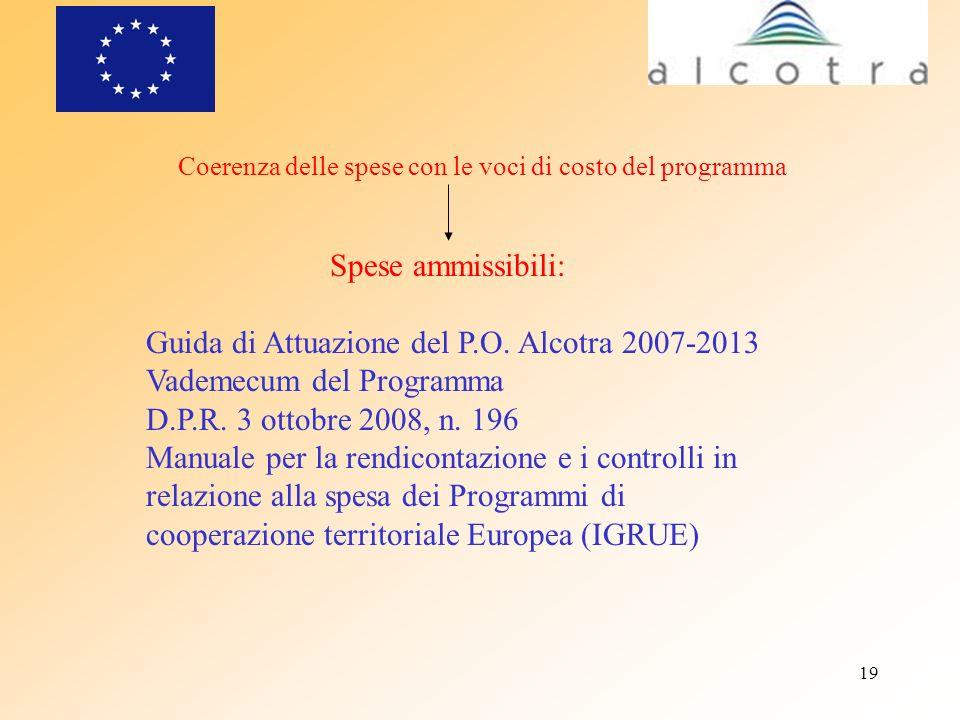 Guida di Attuazione del P.O. Alcotra 2007-2013 Vademecum del Programma