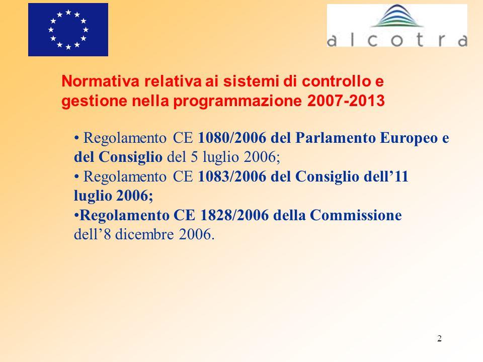 Normativa relativa ai sistemi di controllo e gestione nella programmazione 2007-2013