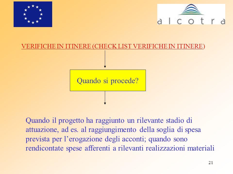 VERIFICHE IN ITINERE (CHECK LIST VERIFICHE IN ITINERE)