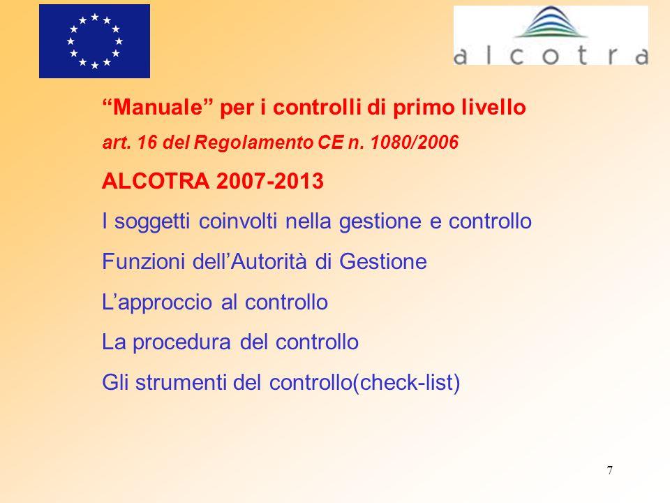 Manuale per i controlli di primo livello ALCOTRA 2007-2013
